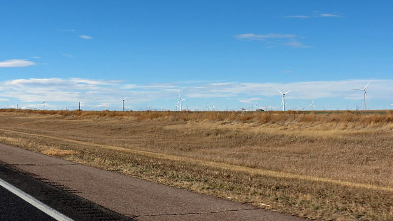 More wind turbines came into view outside of Arriba, Colorado.