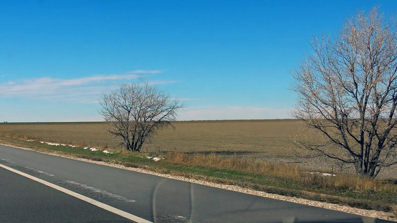 Snow along I-70 outside of Brewster, Kansas.