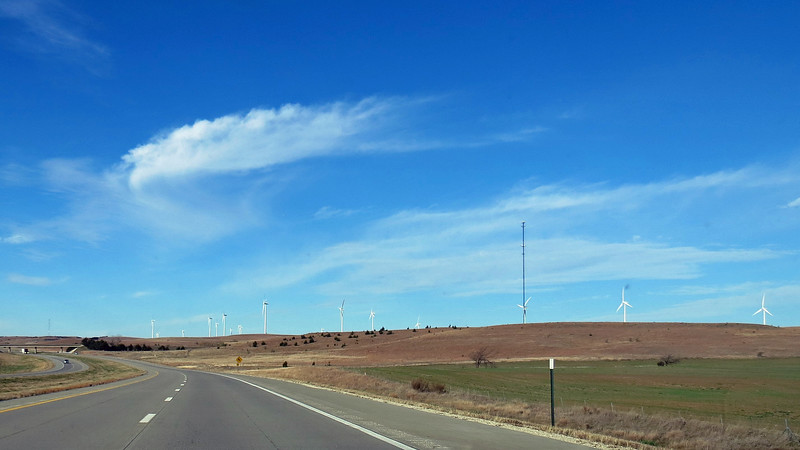 The Smoky Hills Wind Farm sits 20 miles west of the city.