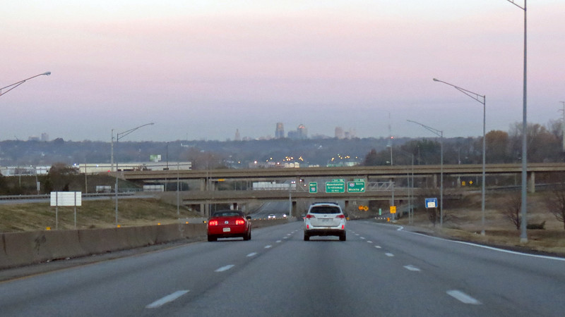 The city skyline came into view after passing the sports complex.