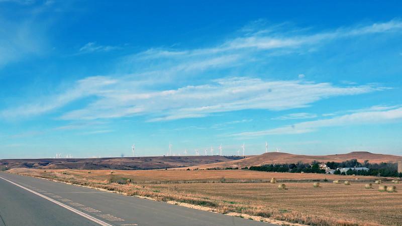 Wind turbines along I-70 west of Salina, Kansas.