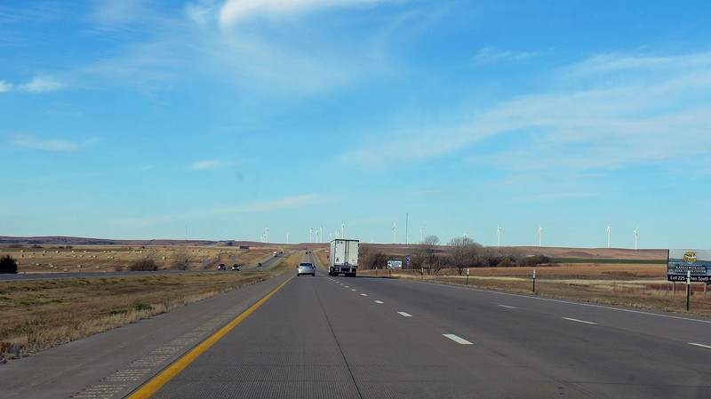 I began to see wind turbines off in the distance just past Salina.