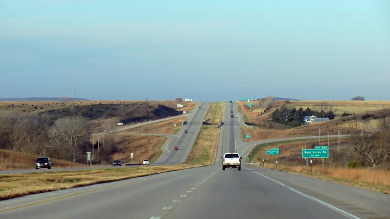 Westbound I-70 west of Topeka, Kansas.