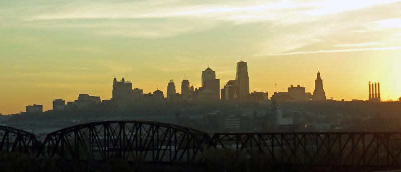 Sunrise over Kansas City, Missouri.