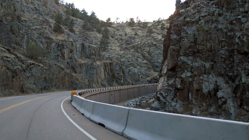 The roadway follows the path of the Big Thompson River which sits off to the right in the photos above and below.