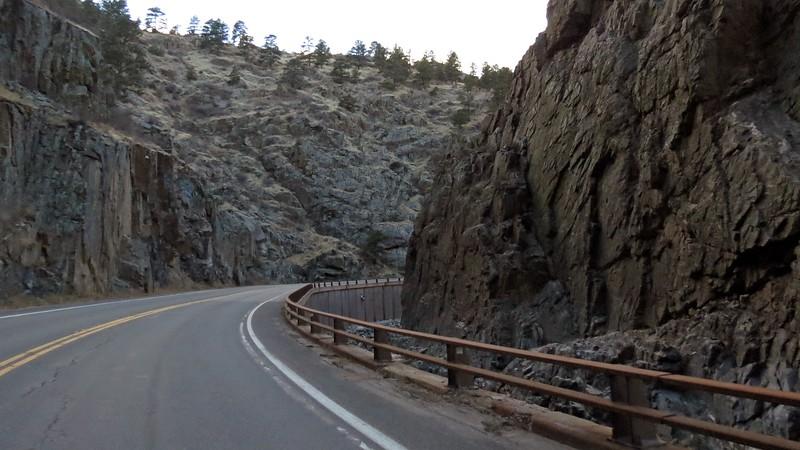 Driving through Big Thompson Canyon toward Estes Park, Colorado.
