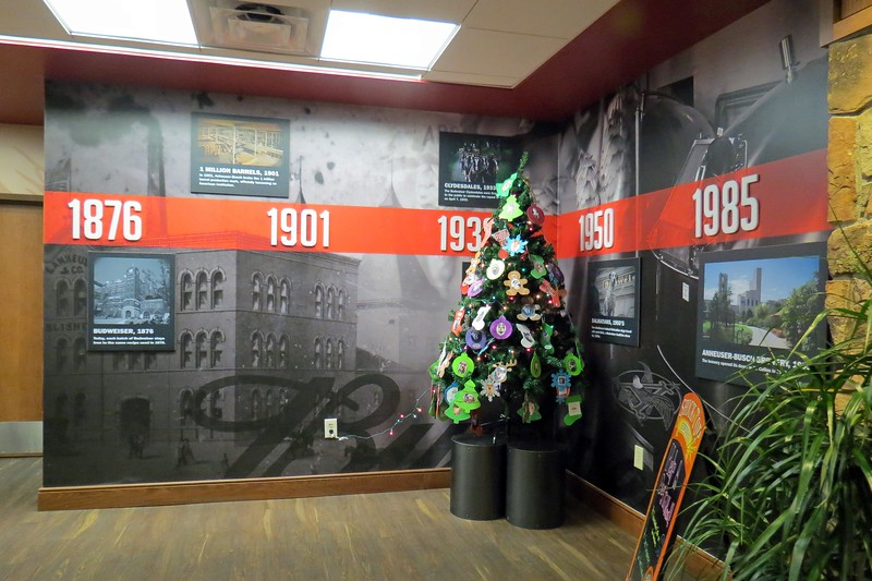 The restaurant and gift shop are located herein, along with a timeline of Budweiser's history from its introduction in 1876 in St. Louis, Missouri.