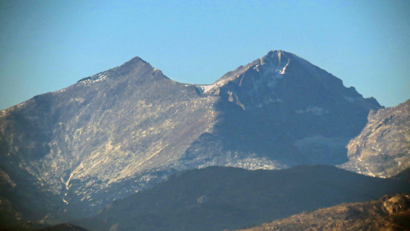 The photo above is a closeup of Mount Meeker (L) and Long's Peak (R).  Its 14,255 foot elevation makes Long's Peak the tallest in Rocky Mountain National Park.