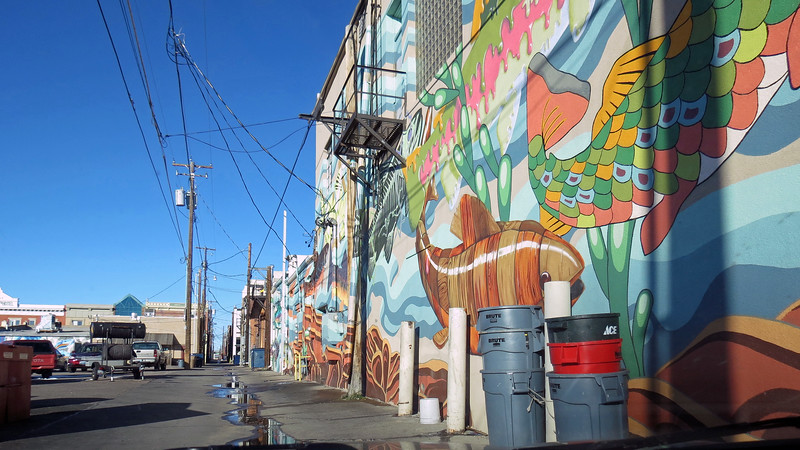 One building had a large mural painted on its rear facade.