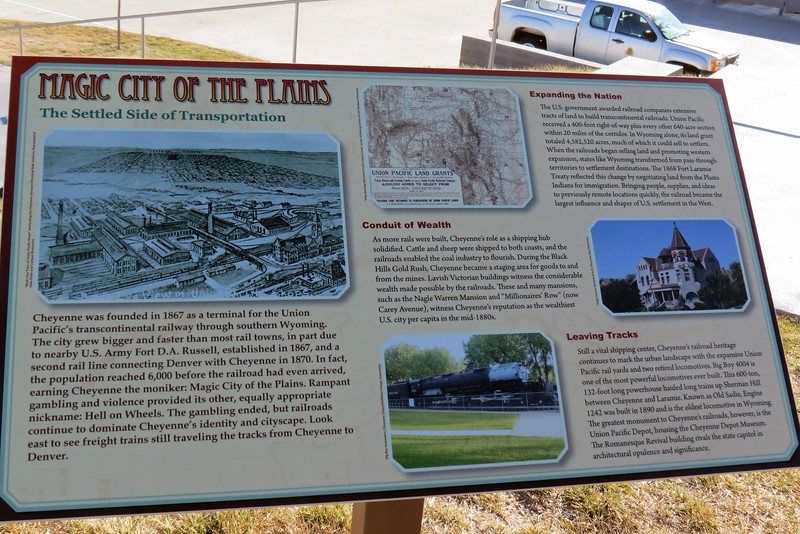 The marker shown above describes the area's abundant railroad history.
