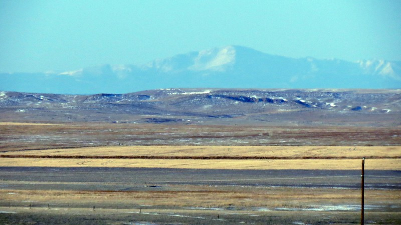 Pikes Peak came into view outside of Limon, Colorado.