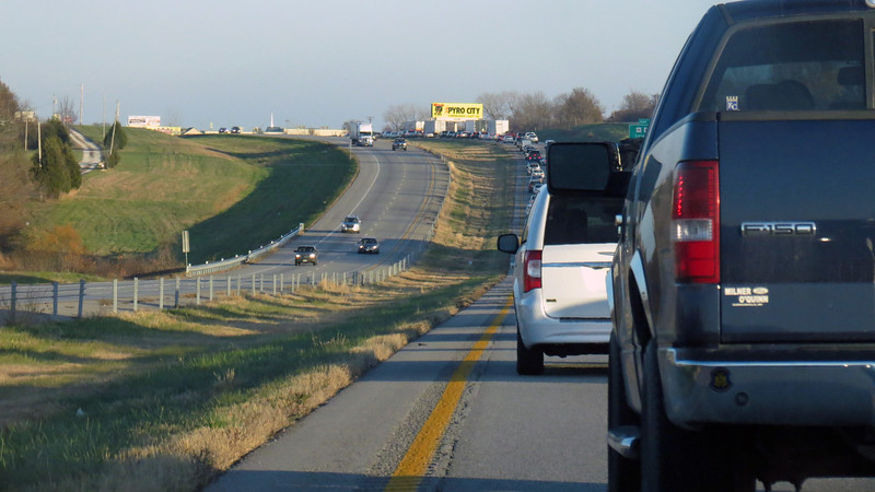 Traffic through the city was no problem at all.  The mess arrived near the Oak Grove, Missouri exit where I spent my overnight on the way to Colorado.