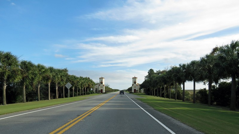 """I am told that years ago, a """"Welcome to Jekyll Island"""" banner used to hang in between the towers in the photo above.  Not sure when it was taken down."""