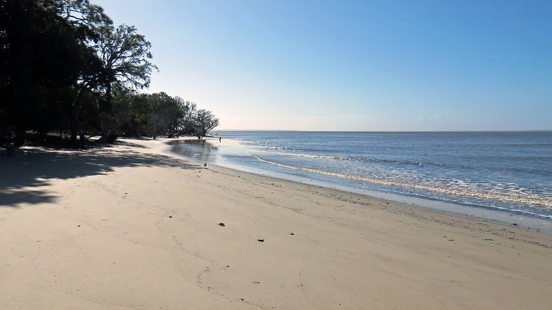 """I'm a little confused by the """"beach access"""" here.  The beach, itself, is quite extensive, reaching all the way to Jekyll Point, the southernmost point on the island.  The photo above clearly shows a lot of beach."""
