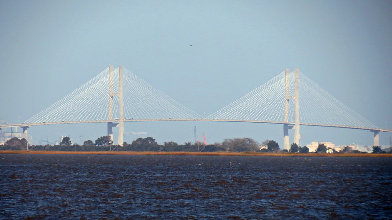 The Lanier Bridge as seen from the shore of St. Andrews Picnic Area.