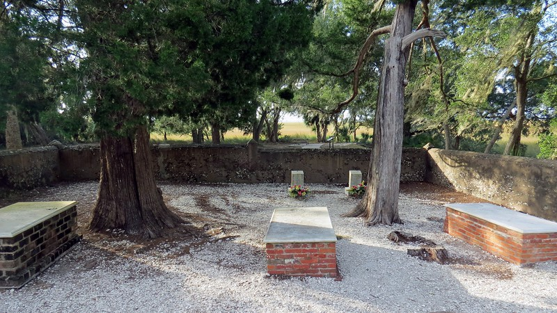 The duBignon Cemetery sits across from the Horton House.  This small cemetery contains five graves.  The three graves in the foreground are for members of the duBignon family.  The two smaller graves in the background are for two Jekyll Island Club employees who drowned in the Jekyll River on March 21, 1912.