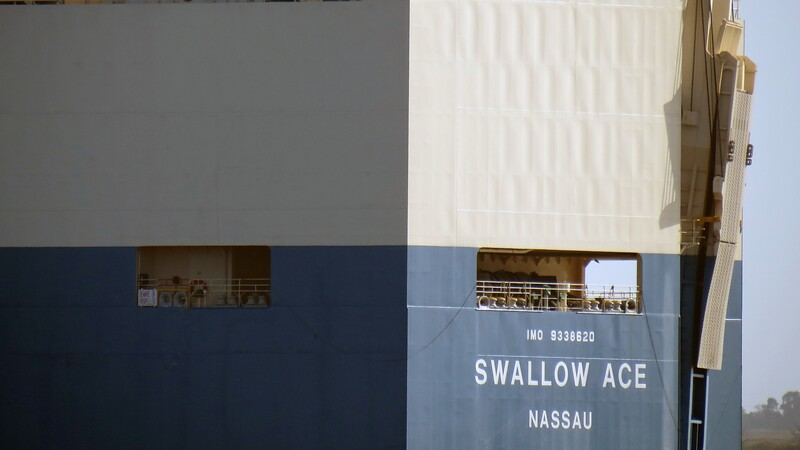 One of the ship's ramps is visible in the photo above.