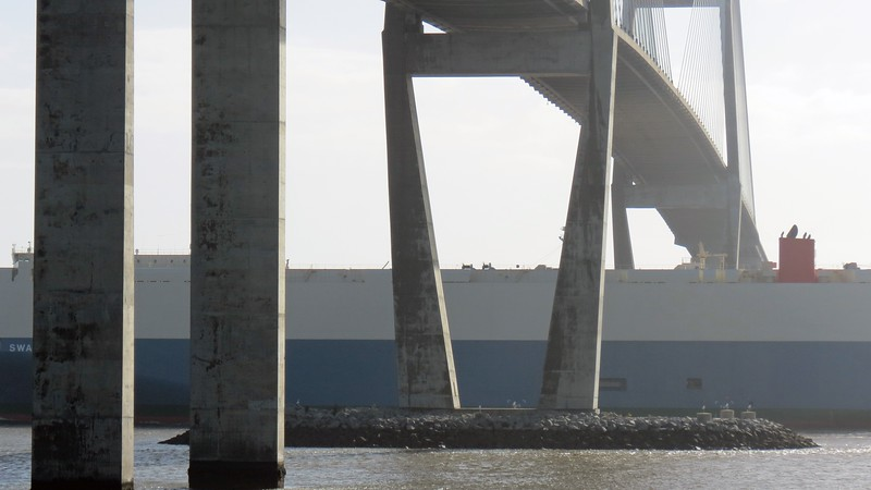 Unlike the old vertical-lift bridge, the 185 feet of clearance under the bridge deck can accommodate very large cargo ships.