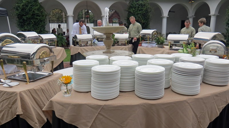 Entrees and side dishes in the center of the courtyard.