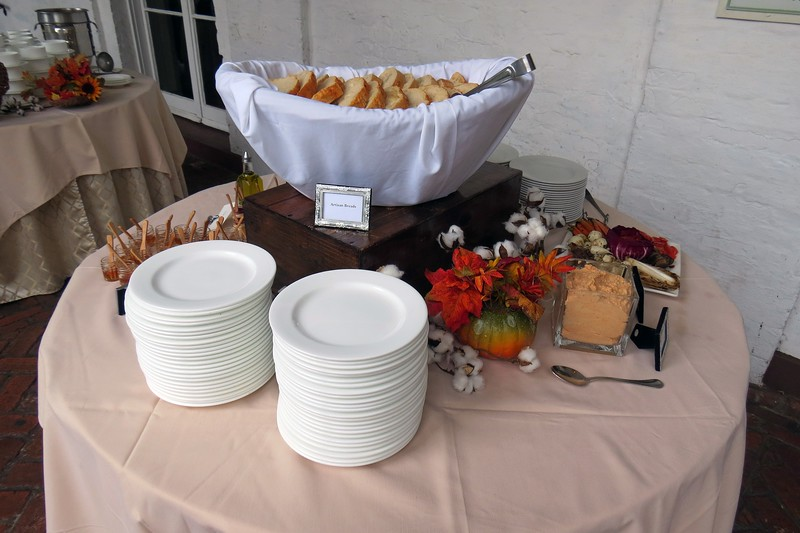 The buffet at the Courtyard at Crane was set up, literally, in the courtyard.  Guests leaving the dining areas first encountered the bread table.