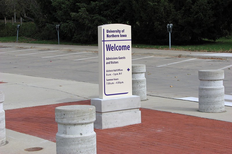 Eventually, we made it to the University of Northern Iowa and parked next to the Admissions building.