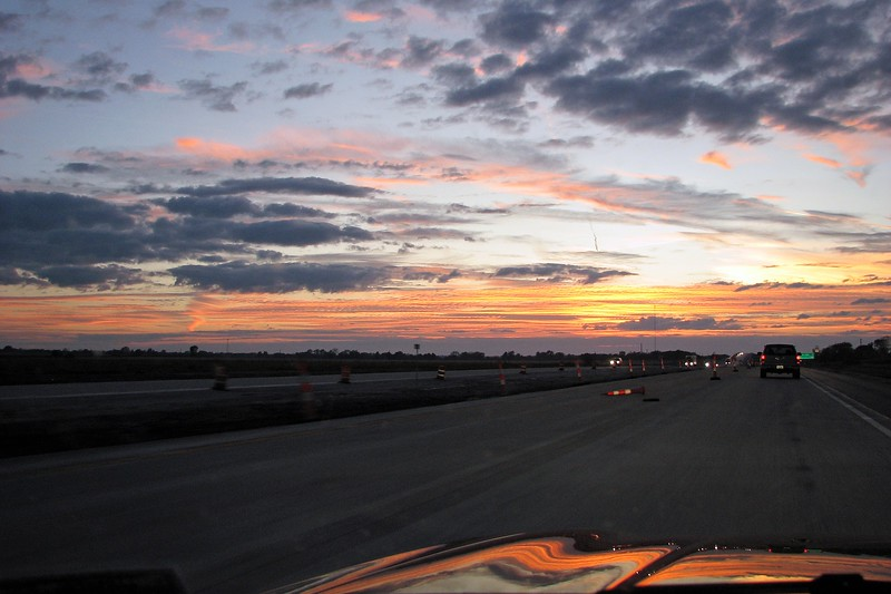 Mother Nature treated us to a beautiful sunset while traveling on US Route 54.