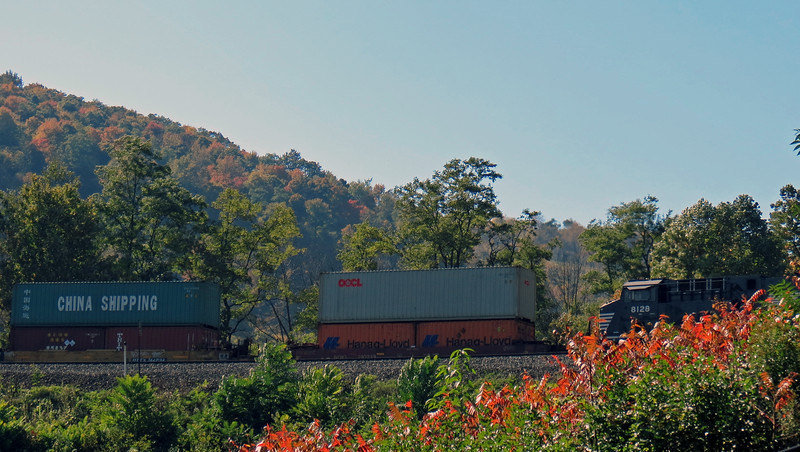 This train was hauling a bunch of shipping containers.