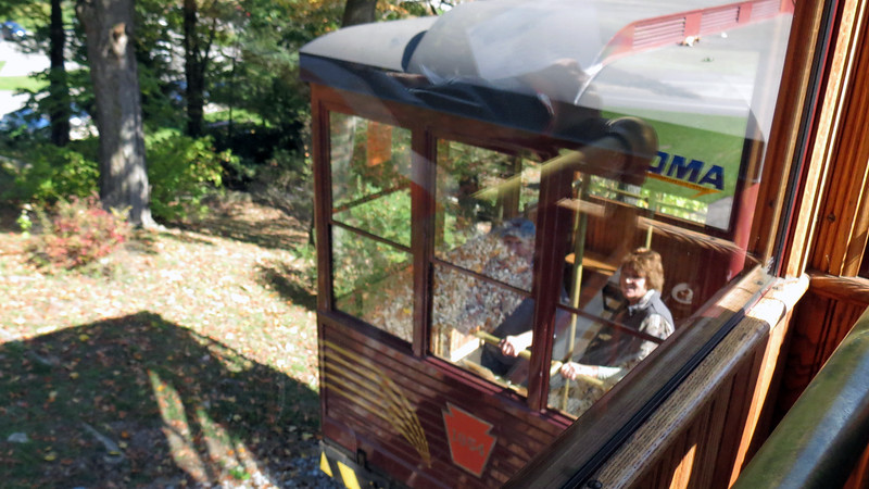 Riding the Funicular Railway down to the Visitor Center.