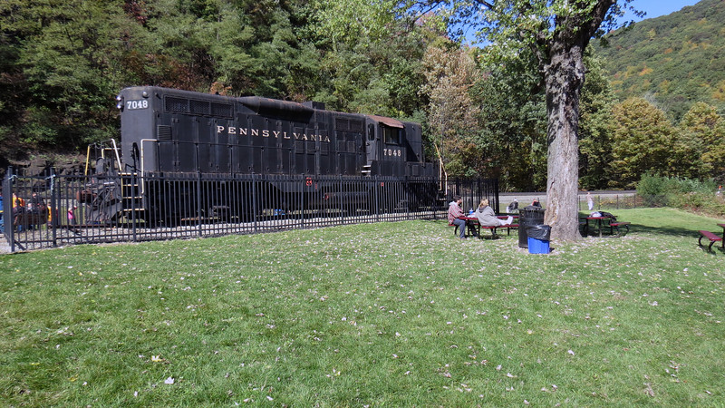 Another attraction of the viewing park is PRR #7048, a retired GP9 diesel locomotive.
