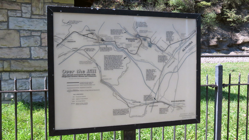 Several informational displays sit at the center of the Curve.  One display provided some general information about the area and gives a detailed illustration of the Curve and its role in overcoming the Allegheny Mountains.