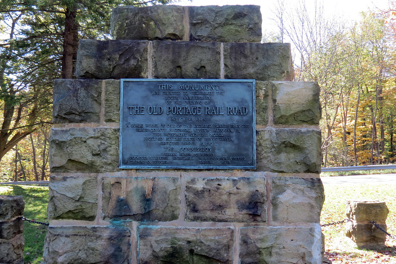 "Monument for the ""Old Portage Rail Road"" at Incline Plane #6."