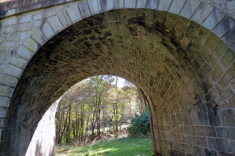 Looking up at the arch of the Skew Arch Bridge.