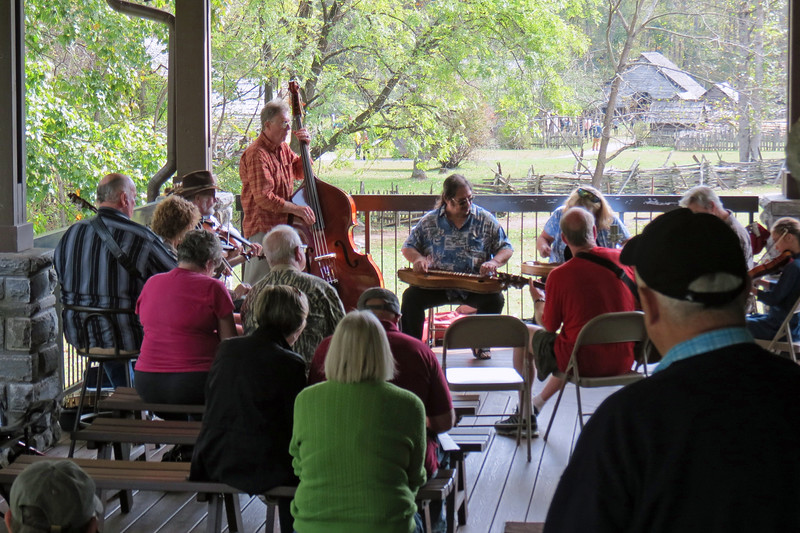 We arrived at the Oconaluftee Visitor Center to find live Bluegrass music on the large covered porch.