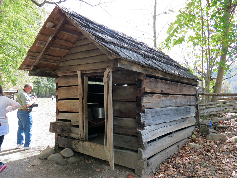 "The Spring House originally sat in the Cataloochee Valley area of the park.  This is the 19th century version of ""refrigeration,"" and was also a source of fresh water."