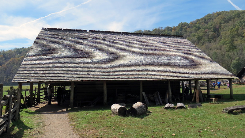 The Enloe Barn dates from approx. 1880 and is so named for its builder, Joseph Enloe.  The roof consists of around 16,000 hand-cut shingles.  This is the only building in the museum that is original to the site, (Enloe owned the land on which the Visitor Center and museum sit).