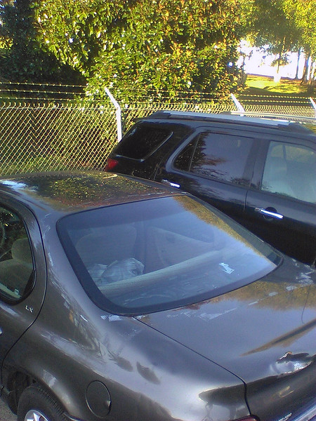 I contacted a local glass shop about a new window.  A new one is, surprisingly, available, but at a ridiculous price, (something like $500).  A local salvage yard hooked me up with a $55 used window, (they actually had two of these cars in their yard).  And all was well once again.  I'll worry about the rear package shelf later.  Not sure about the bodywork, though.
