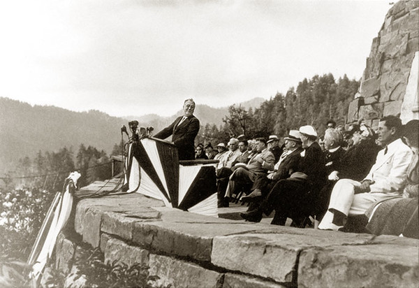 The photo above is from the US National Park Service website and shows President Franklin D. Roosevelt dedicating the Great Smoky Mountains National Park from the Rockefeller Memorial at Newfound Gap on September 2, 1940.