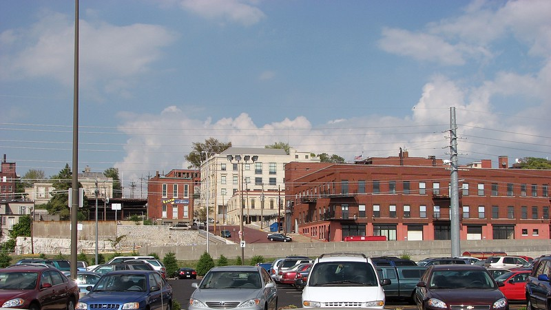 Looking back at the city of Alton, Illinois.