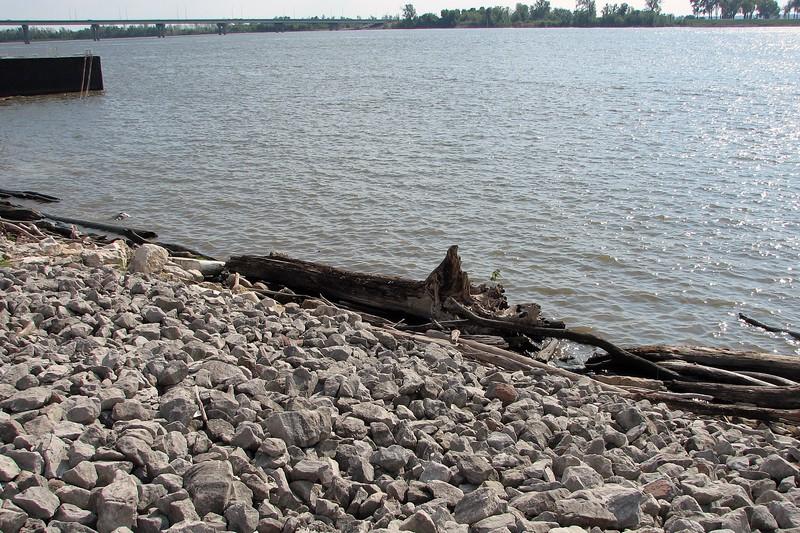 Shore of the Mississippi River at the Argosy Casino, Alton, Illinois.