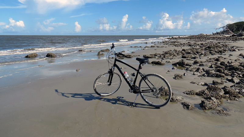 I had park on top of a rock so my kickstand wouldn't sink into the sand.