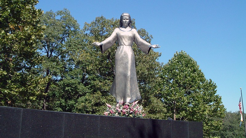 The 14 foot tall stainless steel sculpture of Mary was created by Don Wiegand of Chesterfield, Missouri.