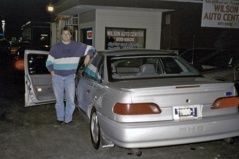 November 1, 1996:  After years of 2-door, V-8 powered, rear wheel drive cars, I did an about face and went with a 1993 Ford Taurus SHO, a 4-door, V-6 powered, front driver.  I was skeptical at first.  But this car was wonderful in all aspects.