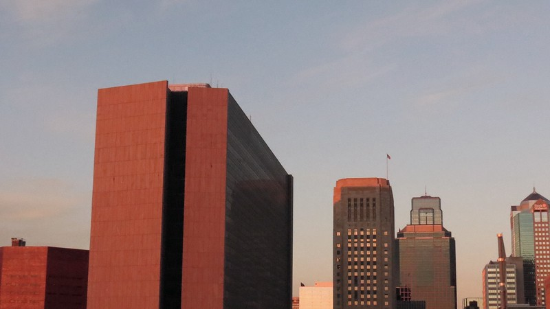 L-R:  Jackson County Corrections Center, Richard Bolling Federal Building, Jackson County Courthouse, 1201 Walnut (in front of One Kansas City Place), Town Pavilion.