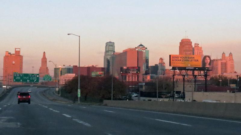 I-70 west, downtown Kansas City, Missouri heading toward the Power & Light District.
