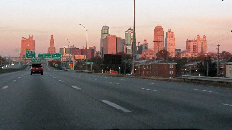 From I-70 westbound in Kansas City L - R:  AT & T Long Lines Building, Kansas City Power & Light Building, Richard Bolling Federal Building (in front of One Kansas City Place), Town Pavilion, Bryant Building, Kansas City City Hall, Oak Tower, 925 Grand (formerly the Federal Reserve Bank of Kansas City), 909 Walnut, (formerly the Fidelity National Bank & Trust Building).