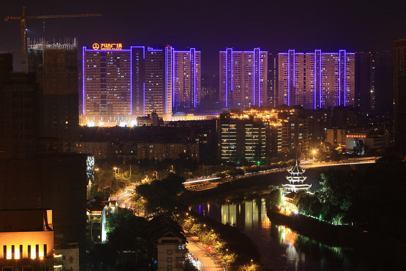 Cityscape from level 30 in Chengdu, Sichuan.