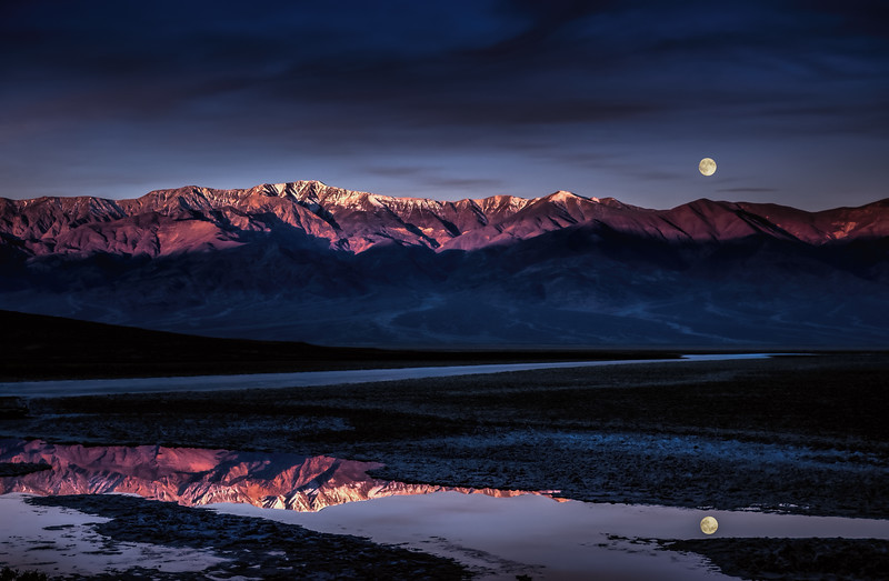 Badwater Moonset Reflection