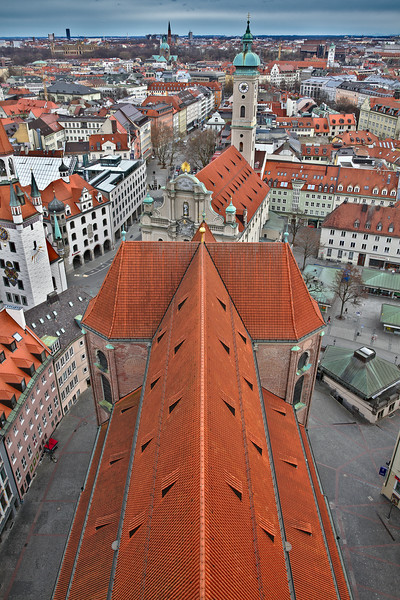 Bird's view of the old town of Munich