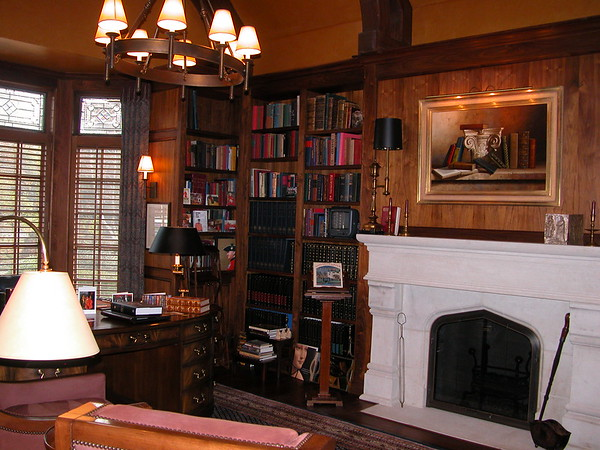 This library was custom in every way to house the owner's noted art and rare book collections.  Walnut casework was custom sized for specific book collections.