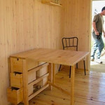 Drop leaf narrow table with drawers